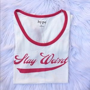 🍉5 for $5 NWT Stay Weird cream T shirt